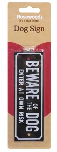 Beware of the dog waakbordje 15x5 cm