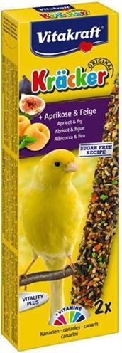 Vitakraft kanarie kracker fruitdeze lekkernij bevat verschillende soorten zaden op een natuurlijk houten ...