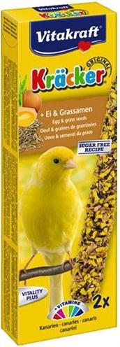 Vitakraft kanarie kracker eideze lekkernij bevat verschillende soorten zaden op een natuurlijk houten stokje. ...