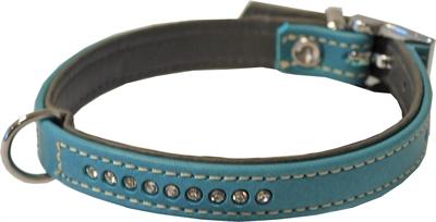 Hondenhalsband nappa met strass turquoise / grijs 25X1.4CM