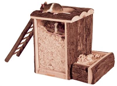 Trixie natural living speel en graaftoren muis / dwerghamster