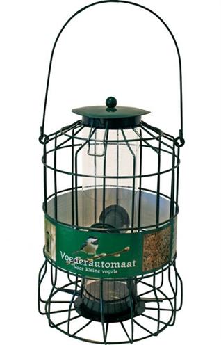 Metalen voederautomaat voor kleine vogel groen