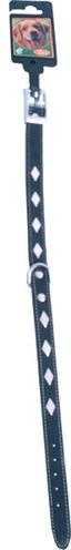 Halsband nubuck met metalen ruiten zwart