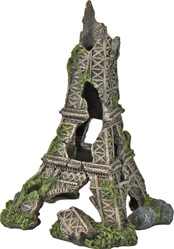 Ornament van de ruïne van de eiffeltoren voor in het aquarium.